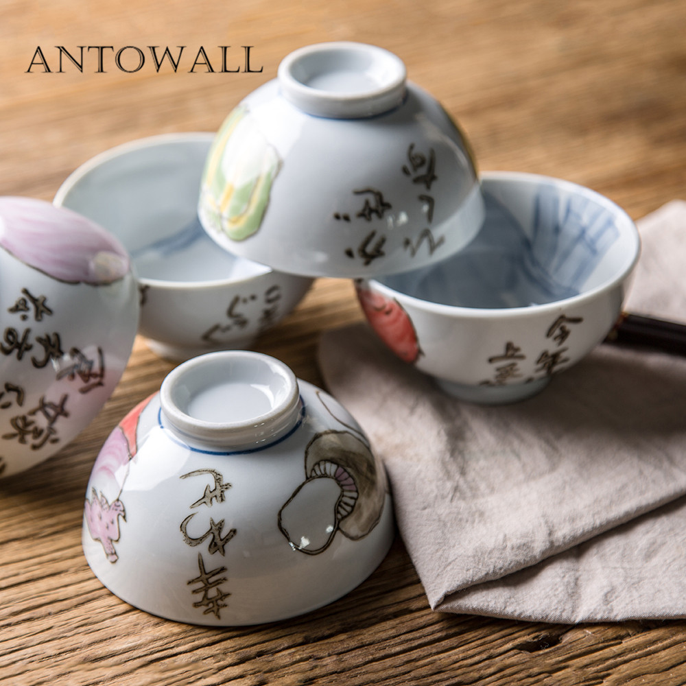 Have An Inquiring Mind Antowall 5 Piece/set Japanese Ceramic Tableware Rice Bowl Underglaze Color Hand-painted Garden Vegetable Bowl Gift Box Packaging Modern Design Home & Garden