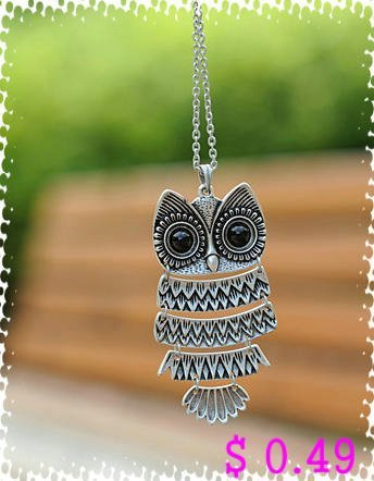 Min.order is $10 (mix order) Fashion Necklace Black Crystal Owl Pendant Antique Necklace Silver Colors Free shipping Kp079