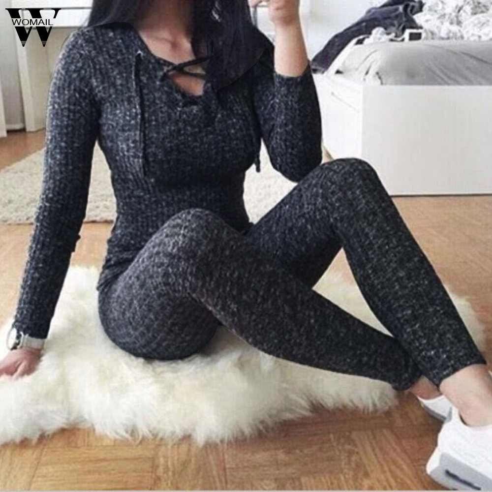 Womail bodysuit Women Summer Casual Skinny V-Neck Bandge Long Sleeve Solid Long Jumpsuit Plausuit Fashion 2020 M1