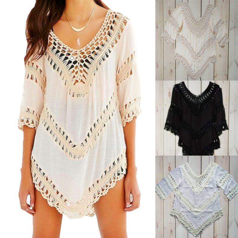 Sleeve Cover Up Bikini Bathing Suit Swim Cover Ups Beachwear Women Swimsuit Robe de plage Crochet White Pareo Tunic Beach Dress jessica simpson new multi butterfly sleeve printed cover up tunic l $68 dbfl