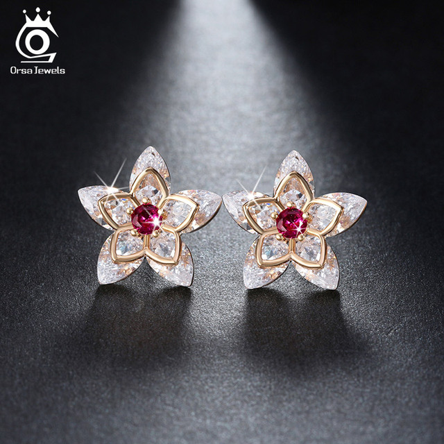 ORSA JEWELE Cute Flower Crystal Stud Earring Paved  Shiny Austrian Cubic Zirconia Trendy Gold-Color Jewelry for Women OME24