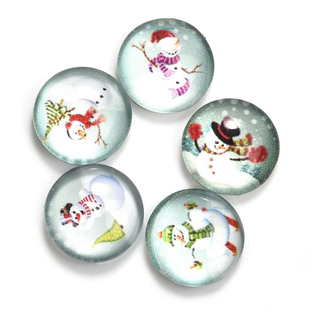 5Pcs/Lot Christmas Pattern Round 12mm Glass Cabochons Dome Flat Back for Jewelry Making Handmade DIY Pendant Findings Snowman