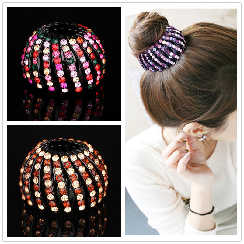 Charming Women Girl Crystal Bird Nest Expanding Tail Hair Bun Holders Clips Updo Grips Clamps Claw Rhinestones Hair Clip