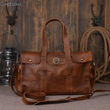 Vintage Men Genuine Leather Travel Bag Large Capacity Weekend Duffel Bag Travel Tote Handbag New Design Big Shoulder Bag DH10 - DISCOUNT ITEM  23 OFF Luggage & Bags