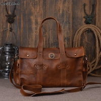 Vintage Men Genuine Leather Travel Bag Large Capacity Weekend Duffel Bag Travel Tote Handbag New Design Big Shoulder Bag DH10