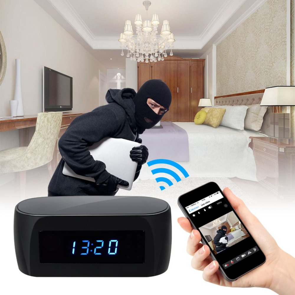 140 Degree Ultra Wide Angle Camera Clock Alarm 1080P Wireless Wifi Night Vision Room Home Security Cam Camcorder Free Shipping ...