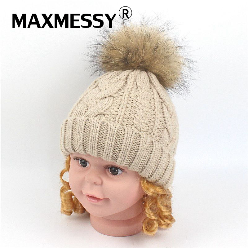 MAXMESSY Winter Hat 1-5Y Baby   Skullies     Beanies   Thickened Warm Ear Knitted Real Raccoon Pompom Multicolor Cap MH103