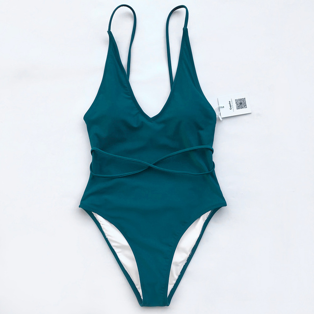 c98a15f22b753 CUPSHE Watch The Clouds Solid One-piece Swimsuit Backless Deep V neck  Summer Sexy Bikini