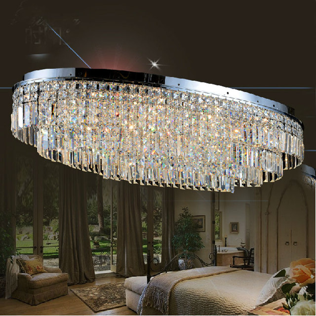 Oval Shaped Modern Style Led Ceiling Lamp For Living Room Dining Large Luxurious Crystal Light