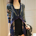 Nueva primavera 2016 mujeres moda Rayas rebeca Del Cabo sueltos mujer suéter manga larga de Punto cardigan sweater coat AE296