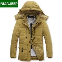 Плюс Размер 4XL Бюст 132 см Зимние Мужские Куртки и Пальто Марка NIANJEEP Толстый Теплый Хлопок Одежда Нового прибытия Военно