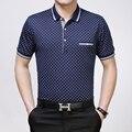 Высокое качество мужская летняя мода плед с коротким рукавом бизнес хлопок поло рубашки