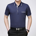 High quality men's summer fashion plaid short sleeve business cotton polos shirt