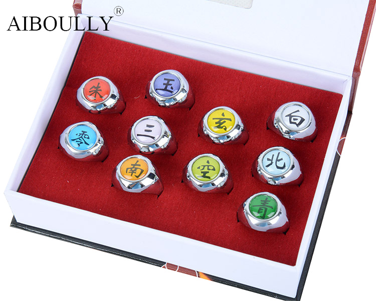 10Pcs Anime Naruto Rings Akatsuki Xiao Organization Ring Naruto Payne Suit 10 Sets Model Most Collection Cosplay Model Toys