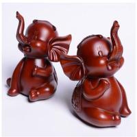 1 pairs set Elephant small auspicious fortune imitation mahogany gift resin craft animal furnishings southeast Asian decorations