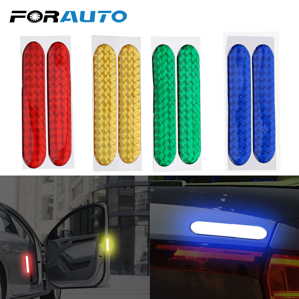 FORAUTO 2pcs Car Door Sticker Decal Warning Tape Car Reflective Stickers Reflective Strips Car-styling 4 Colors Safety Mark new 8mx1cm universal motorcycle reflective stickers strips diy bike car safety warning reflective tape wheel rim decal sticker