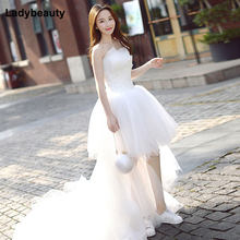 Ladybeauty 2018 High Quality Wedding Dress Short Front Long Back Bridal Wedding Gowns High Low Appliques Bridal Gowns(China)