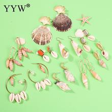 2019 New Sea Shell Earrings For Women Gold Color Round Beach Ladies Fashion Jewelry Geometric Drop Pearl Summer