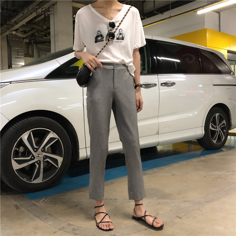 Pants   Women Spring Korean Female Clothing Slim Leisure High Waist Womens Button All-match   Capris   Straight Solid New   Pant   Student