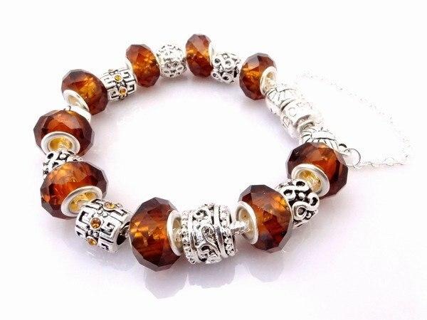 Hot wholesale 925 Sterling Silver jewelry charms bracelet silver bracelet. clear crystal beads bracelet  Pp06
