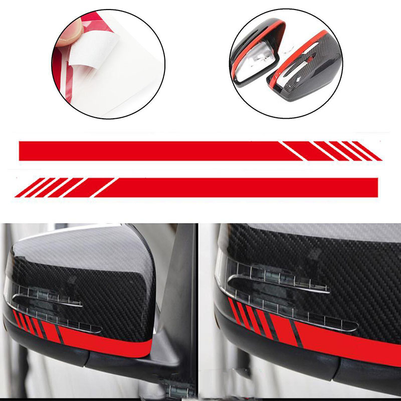 2pcs/set Red Car Side Rear View Mirror Stripe Decal Sticker for Mercedes Benz W204 W212 W117 W176 Edition 1 AMG Car-styling yandex w205 amg style carbon fiber rear spoiler for benz w205 c200 c250 c300 c350 4door 2015 2016 2017