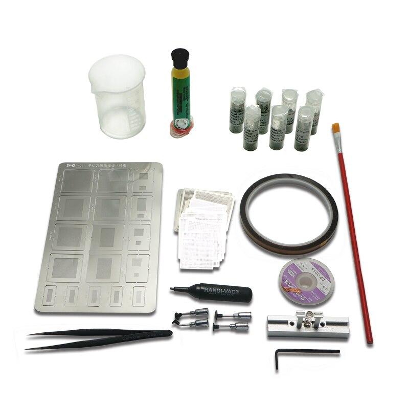 50pcs BGA Reballing Directly universal Heat Stencils + Solder Paste Balls Station BGA Reballing kit For SMT Rework Repair pmtc 250k 0 65mm leaded free bga solder ball for bga repair bga reballing kit bga chip reballing