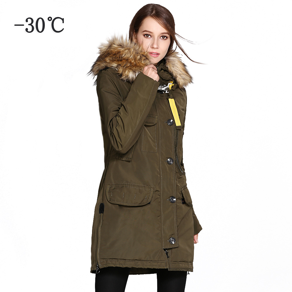 COUTUDI Women Thick Winter Jacket Big Faux Fur Hooded Warm Parka Coats Female Windbreaker Jacket Overcoat Long Women's Parkas