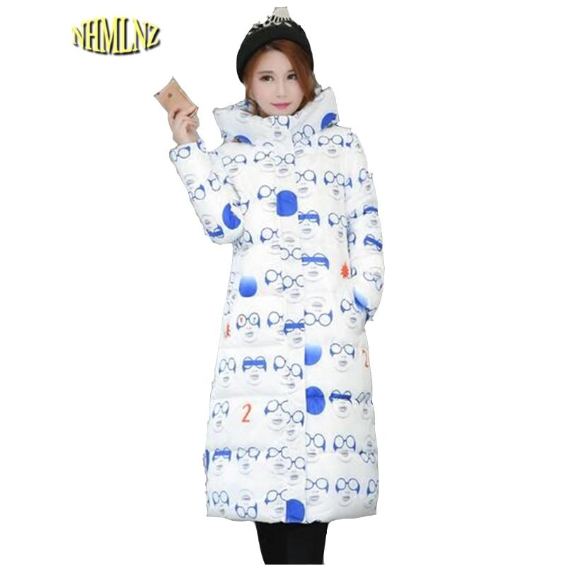 Winter Down jacket New Fashion Women Printed cotton Jacket Printed Medium long Long sleeve Coat Big