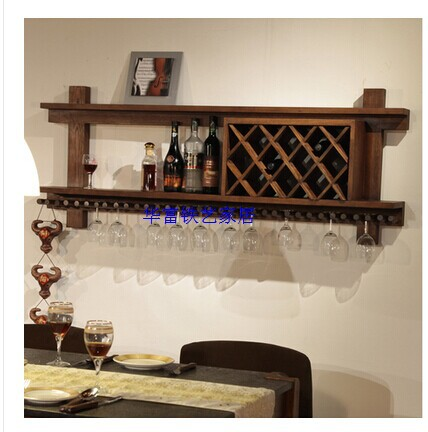 European american wood wine cabinets showcase wine rack Hanging wooden wine rack