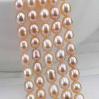 5mm AA Natural Pink Freshwater Oval Pearl Strand Small Drop Shape Pearl String DIY Material Rice