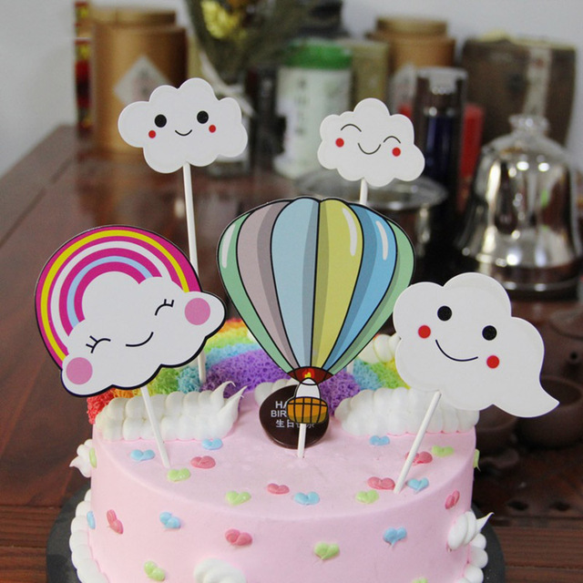 5pcsset Cloud Colorful Hot Air Balloon Cupcake Baby Shower For