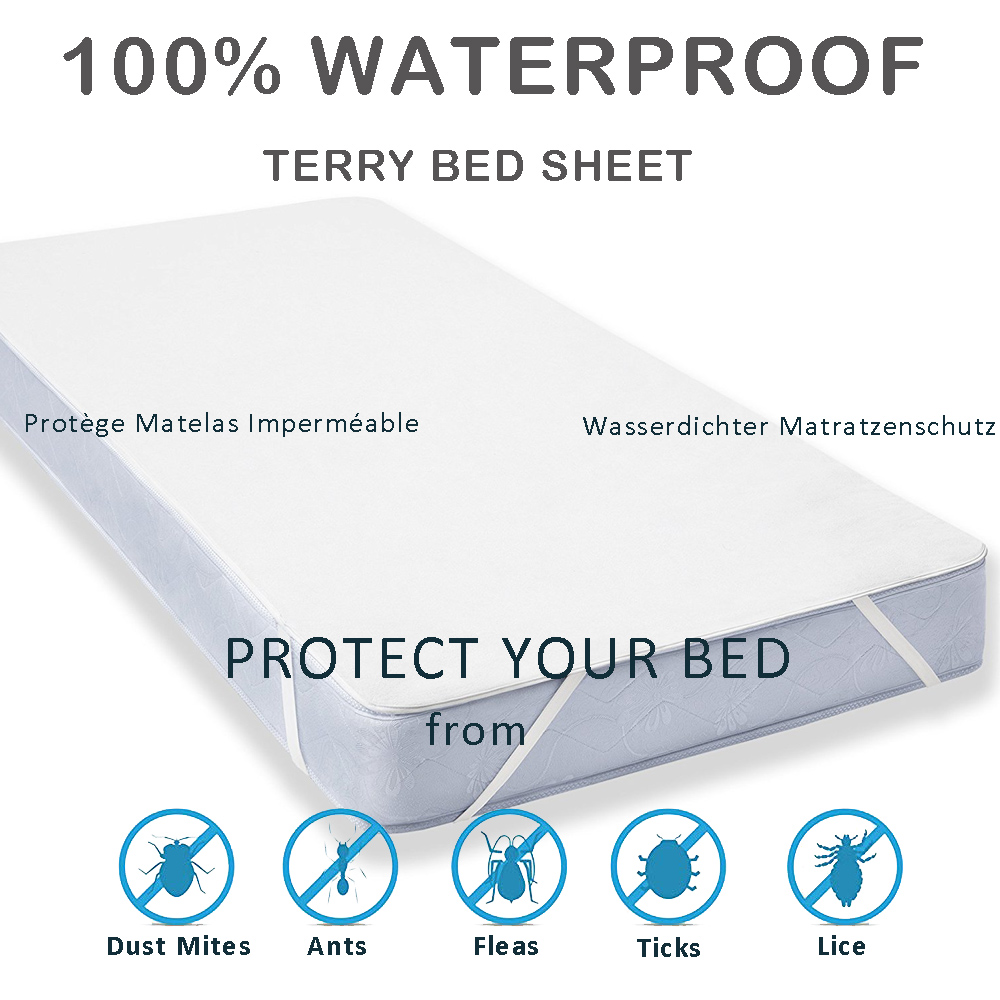 LFH New Terry Cloth Waterproof Bed Sheet For Mattress Pad & Topper With Band Bed Protector Waterproof Mattress Protector