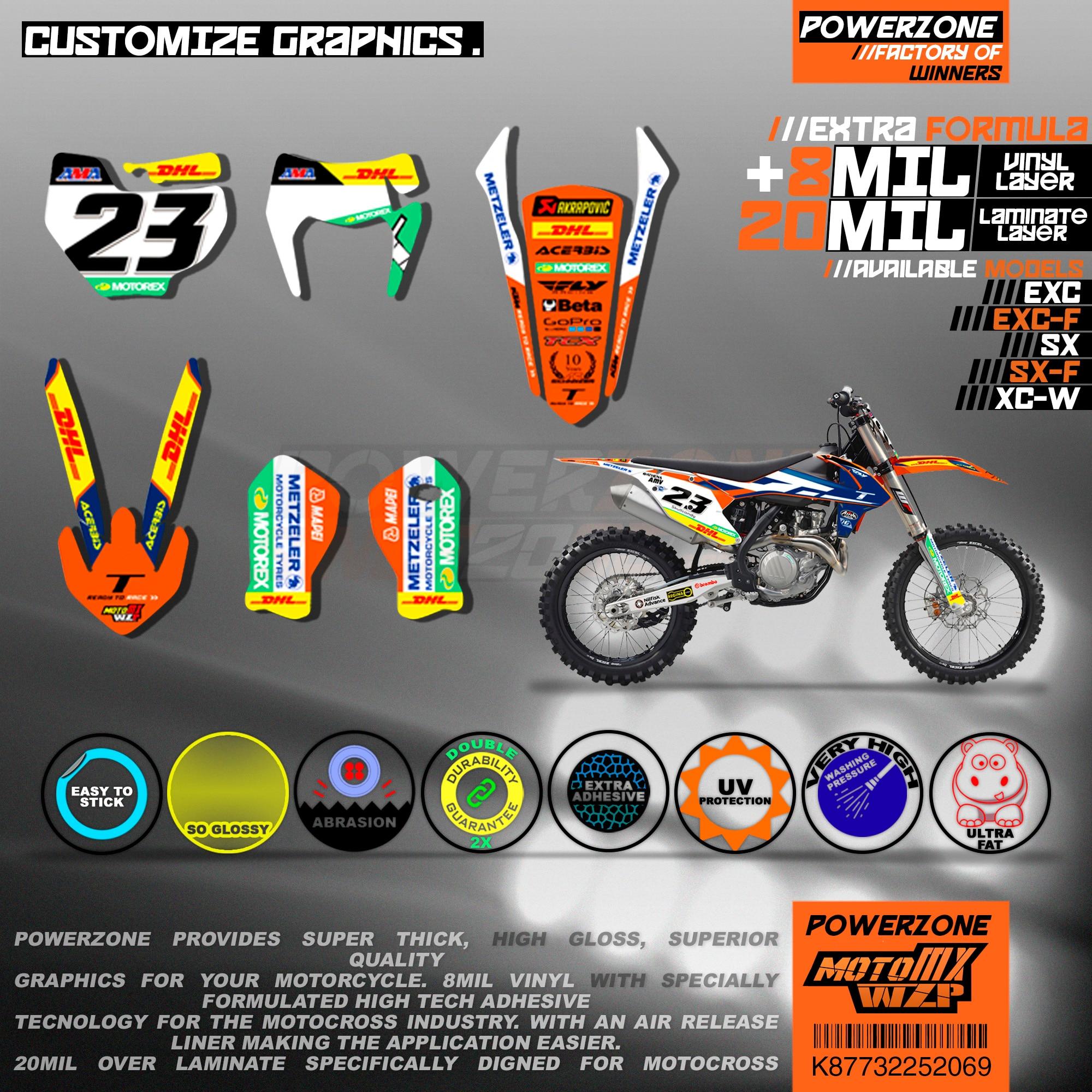 PowerZone カスタムチームグラフィック背景 3 メートルステッカーキット KTM SX SXF MX EXC XCW エンデューロ 125cc に 500cc 2016 2019 069  グループ上の 自動車 &バイク からの デカール &ステッカー の中 2