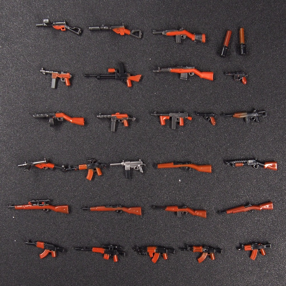 28pcs Moc WW2 Army Military weapon Guns Mini building blocks brick Figures toys for children hot compatible legoinglys military building blocks soviet union missile tank weapon army figures brick toys for children gift