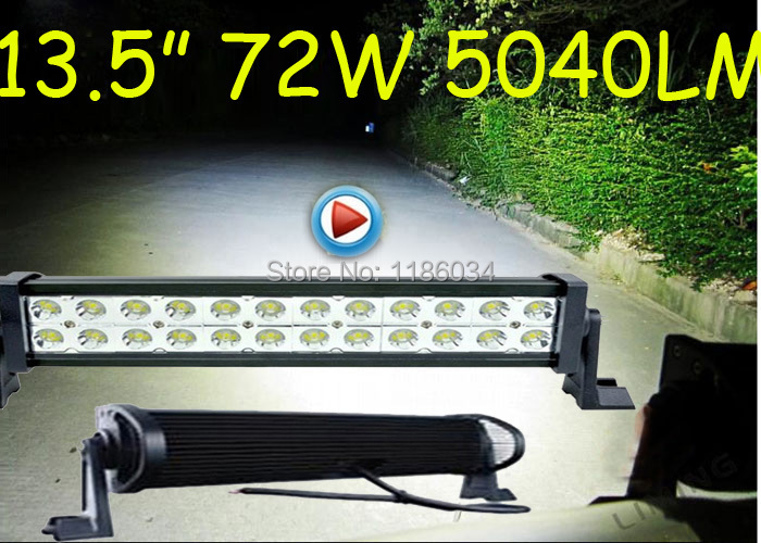 Free DHL ship!1pcs/set,13.5inch 72W 5040LM 10~30V,6500K,Epistar,LED working bar,Boat,Bridge,Truck,SUV Offroad car,4x4,black!36W! 36w 2520lm 6000k 12 epistar led waterproof spotlight working lamp bar for car boat black