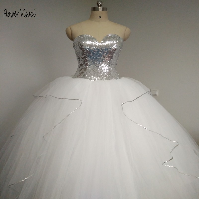 2017 Bling Bling Big Poofy Wedding Dresses Plus Size Tulle