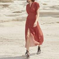2019 летнее подиумное Платье женское сексуальное с v образным вырезом в горошек длинное платье женское праздничное пляжное платье Макси плат