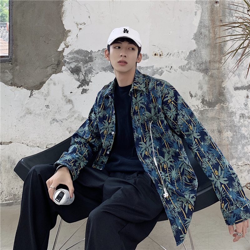 Long Sleeve Shirt Schoolboy Tide Coconut Tree Loose Streetwear Hip Hop Clothes Men Slim Casual Camisa Masculina Harajuku Beach(China)