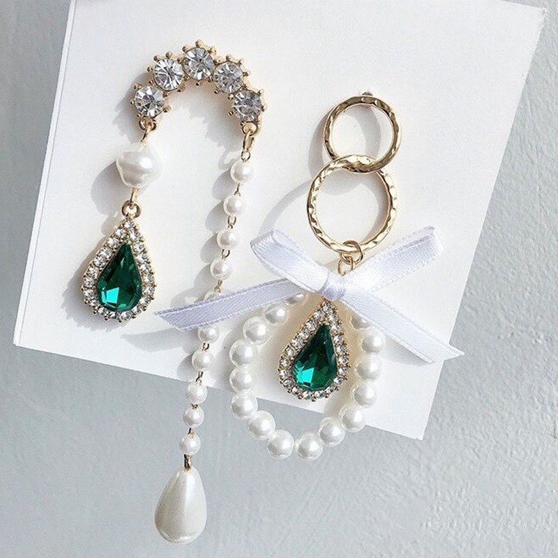MENGJIQIAO New Korean Elegant Waterdrop Green Crystal Pearl Circle Bowknot Drop Earrings For Women Asymmetric Oorbellen Jewelry