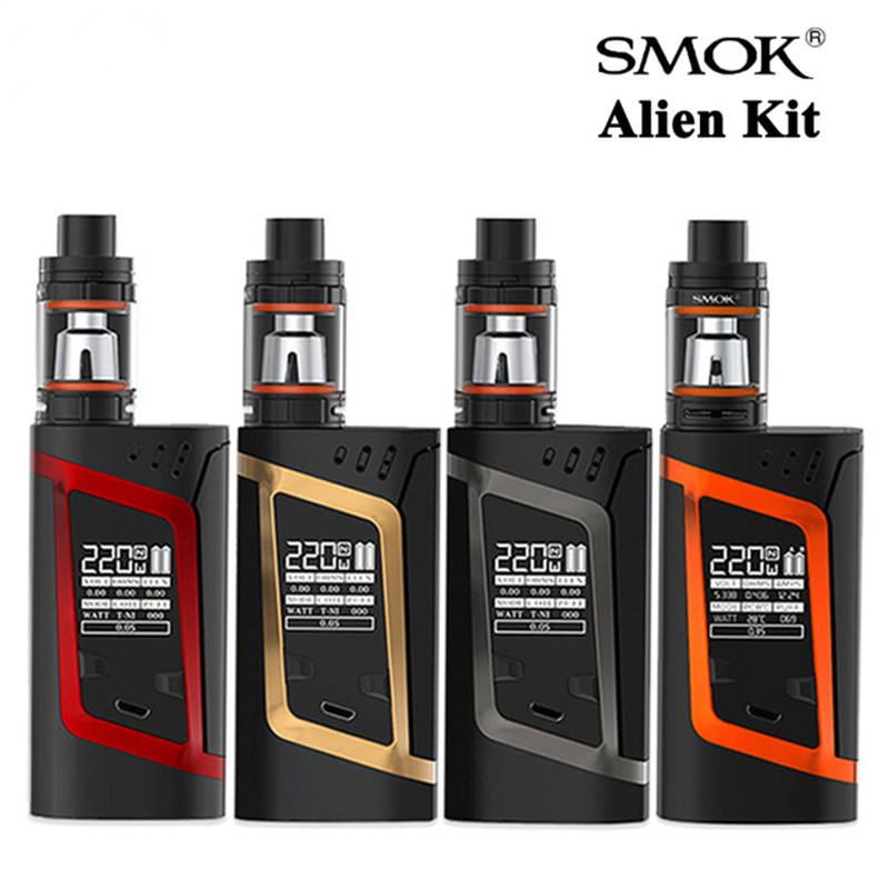 ФОТО Original Smok Alien Kit with TFV8 3ML Baby Tank Atomizer Vape and Aline 220W Box Mod Electronic Cigarette Starter kit Vaporizer