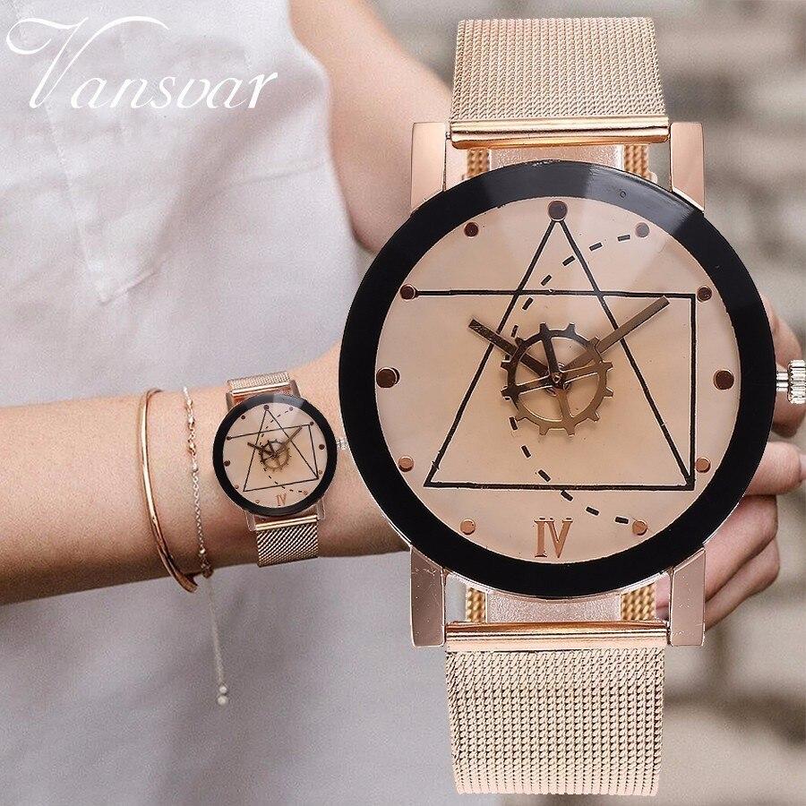 Unisex Rose Gold & Silver Gear Style Watches Fashion Luxury Men Women Quartz Wristwatches Gift Clock Montre Femme