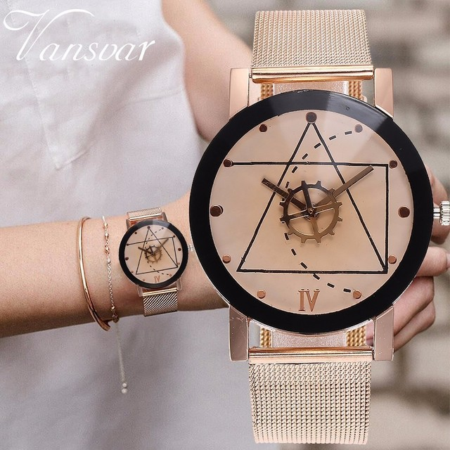 Unisex Rose Gold & Silver Gear Style Watches Fashion Luxury Men Women Quartz Wri
