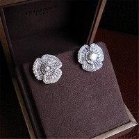 Женские серьги, модные серьги-гвоздики из фианита AAA в форме цветка, белый цвет, E1815