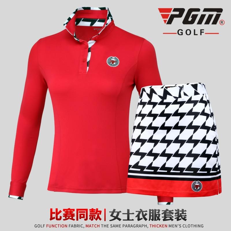 New! 2018 Clothes Top Polo Shirt Lady Suits Lattice Women Summer Long Sleeved T-shirt Short Skirt Sportswear PGM Golf Pantskirt цена 2017