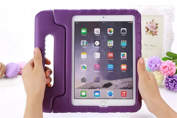 For iPad Pro 9.7 / 6 cover, Kids EVA Silicone Safe Shockproof Case, Handle Stand shell for ipad Air 2 A1566 A1673 A1674 A1675 ...