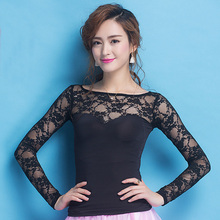 Newest Fashion Modern lace long sleeve Costume comfortable sexy Latin dance top for women/female/lady, performance wear YC1004