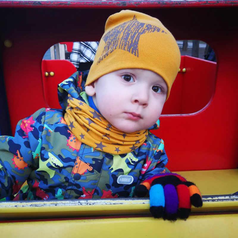 Winter Frühling Baby Hut Schal Set Baumwolle Baby Junge Mädchen Hut Kappe Sterne Druck Kinder Kinder Hüte Neugeborenen Motorhaube Beanie jungen Caps