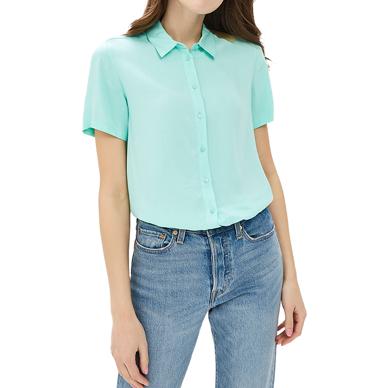 Blouses & Shirts MODIS M181W00614 women blouse shirt  clothes apparel for female TmallFS trendy spaghetti strap 3 4 sleeve pure color blouse for women