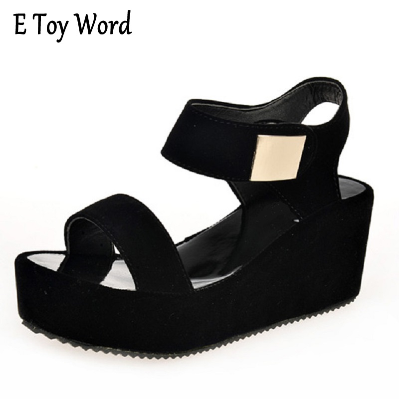 2015 New Summer Black Shoes High Heeled Sandals Korean Muffin Thick Wedges Yuzhui Rome Flat Shoes