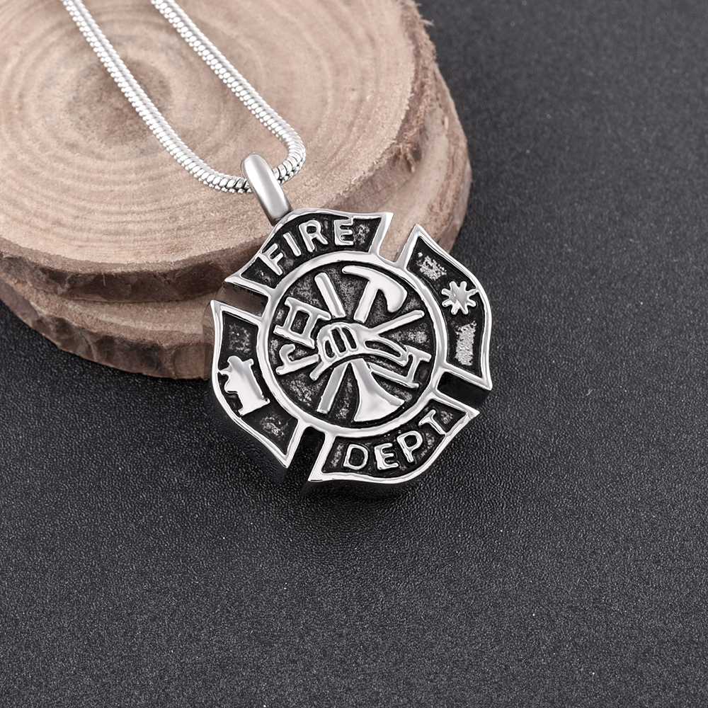 memorial jewelry Firefighter Fire Dept Round Cremation Pendant Cremation Jewelry for Ashes